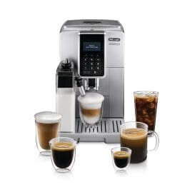 Dinamica with LatteCrema Automatic Coffee & Espresso Machine with Iced Coffee + Automatic Milk Frother, Silver - ECAM35075SI