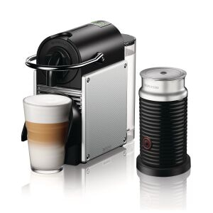 Nespresso Pixie Espresso Machine with Aeroccino by De'Longhi, Aluminum - EN124SAECA Left