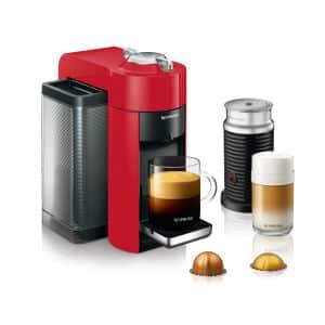 Nespresso Vertuo Coffee and Espresso Machine with Aeroccino by De'Longhi, Shiny Red - ENV135RAECA Right